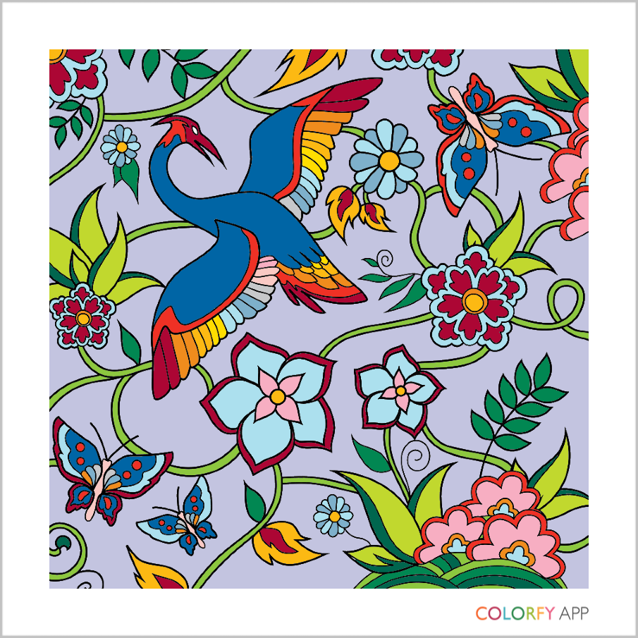 Victoriana garden scene featuring a bird, some butterflies and flowers with vines